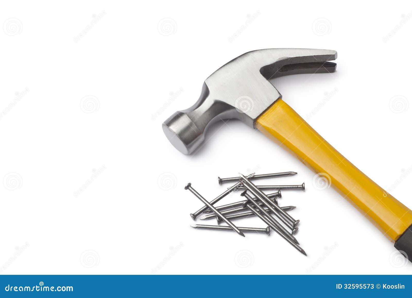 Hammer and nails stock photos image