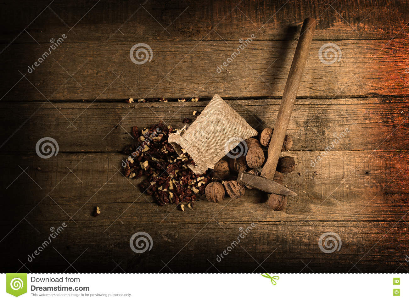 Hammer and nuts stock image  Image of wooden, crack, walnuts