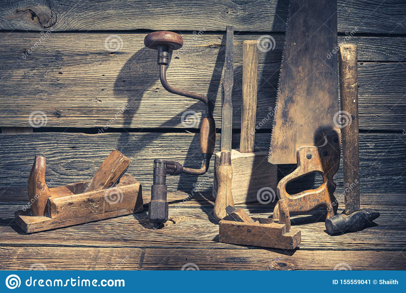 Hammer, Saw And Chisel On Rustic Wooden Table Stock Image ...