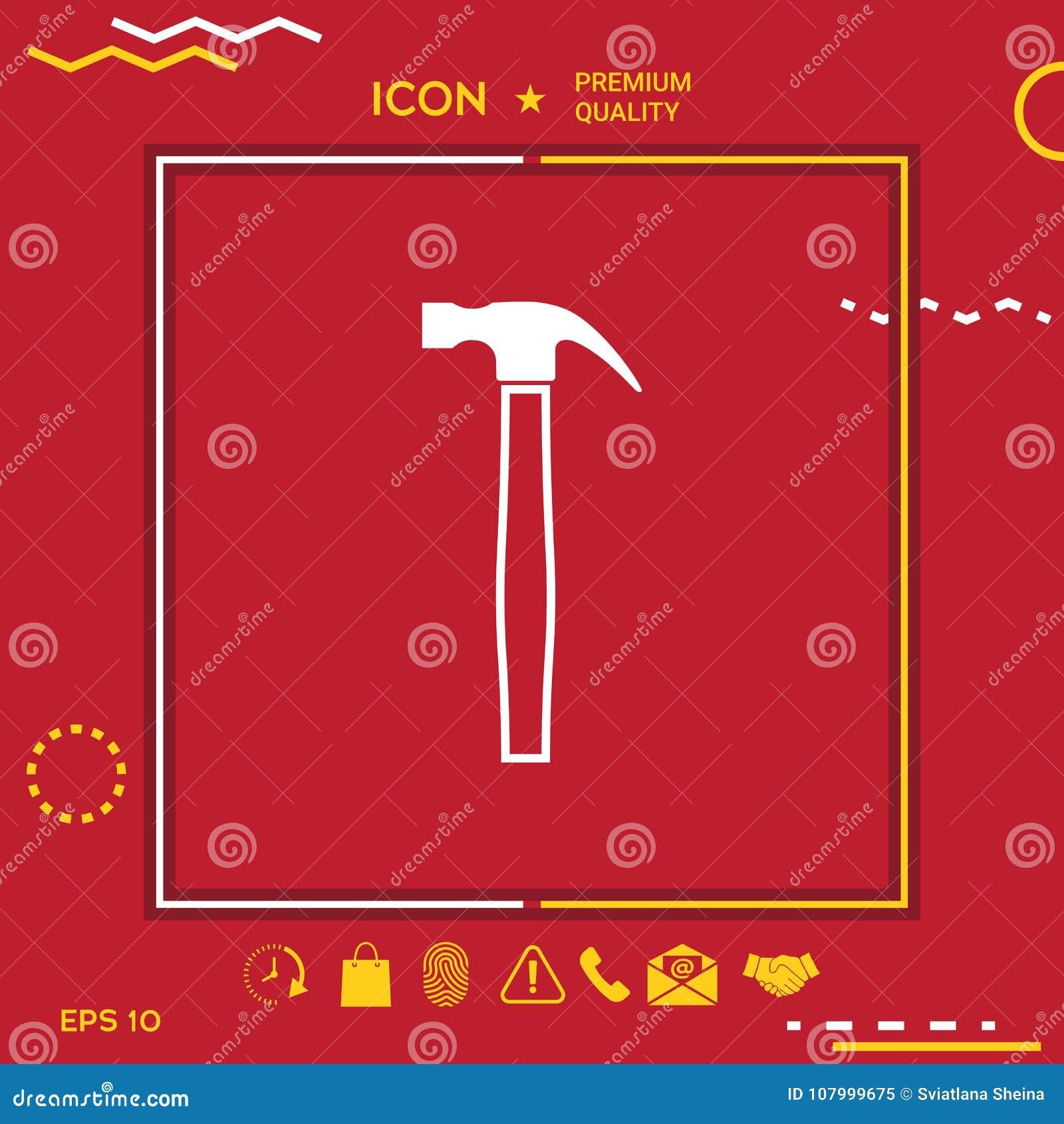 Hammer Symbol Icon Stock Vector Illustration Of Construction