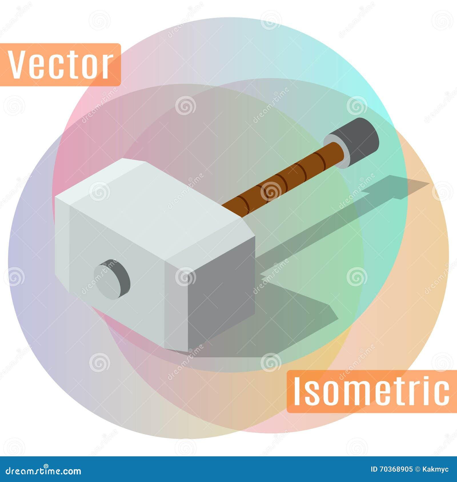Vector Illustration Hammer: Hammer Of Thor Isometric Shadow Stock Vector