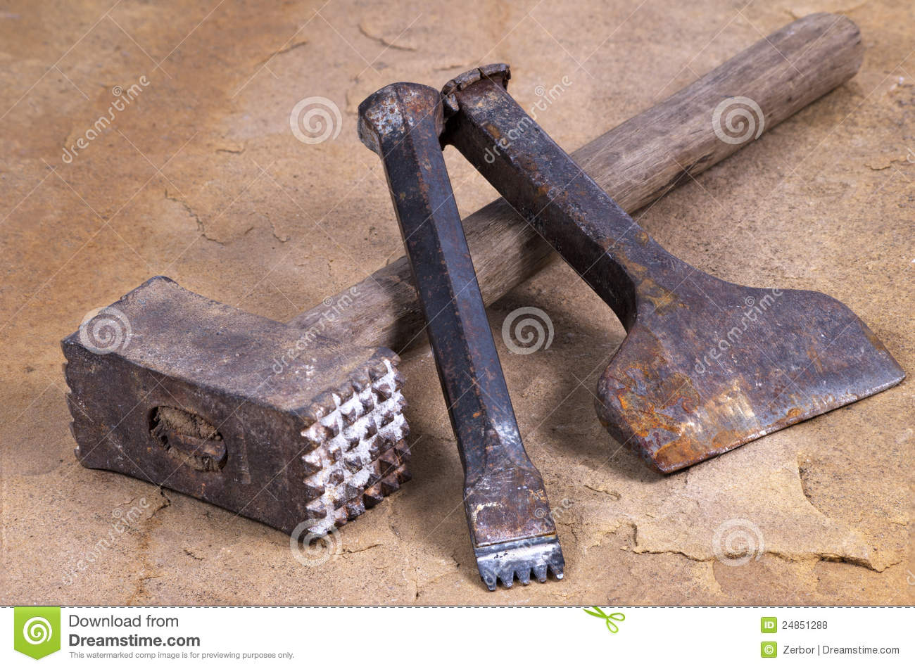 Hammer with two chisels stock photo. Image of iron ...