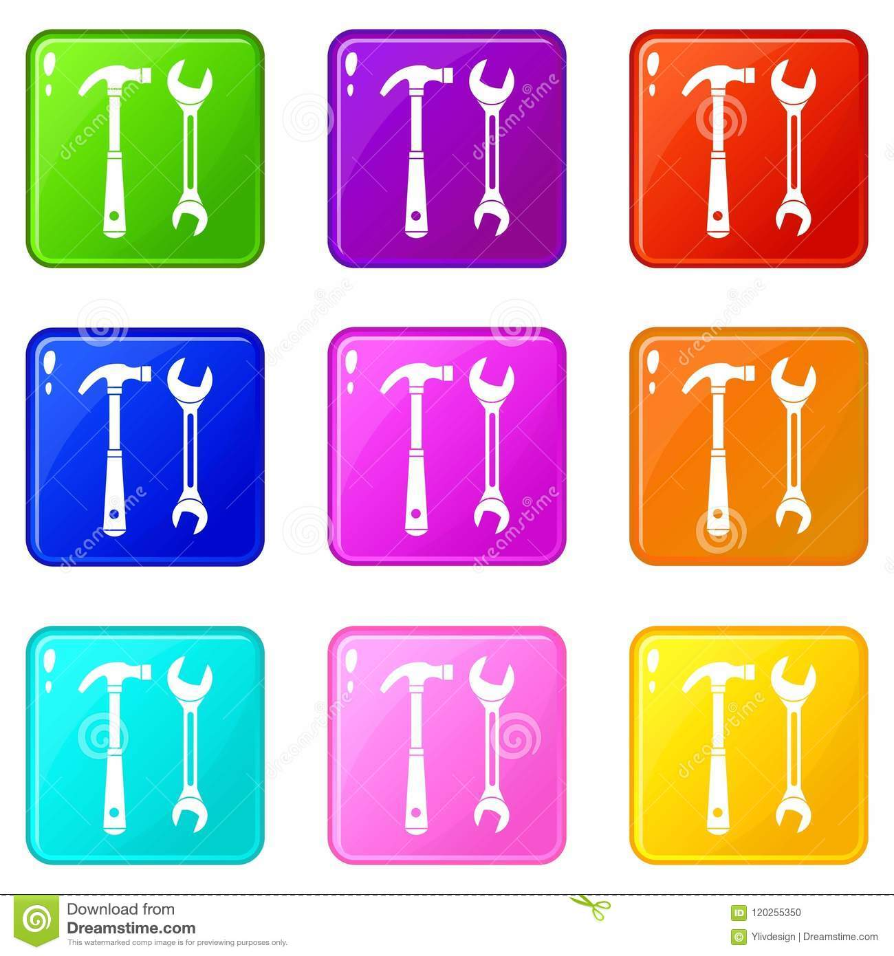 Hammer and wrench set 9 stock vector. Illustration of ...