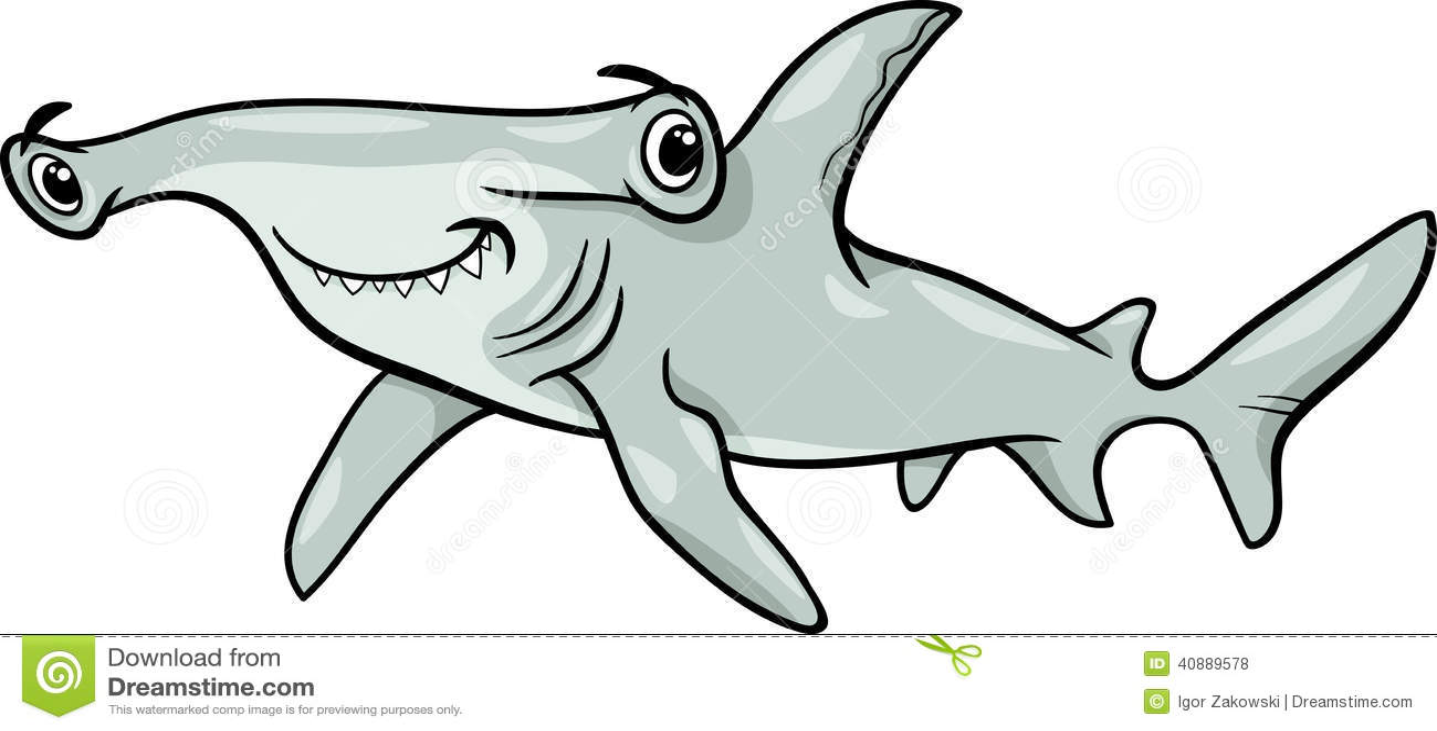 Hammerhead Shark Cartoon Illustration Stock Vector - Image: 40889578