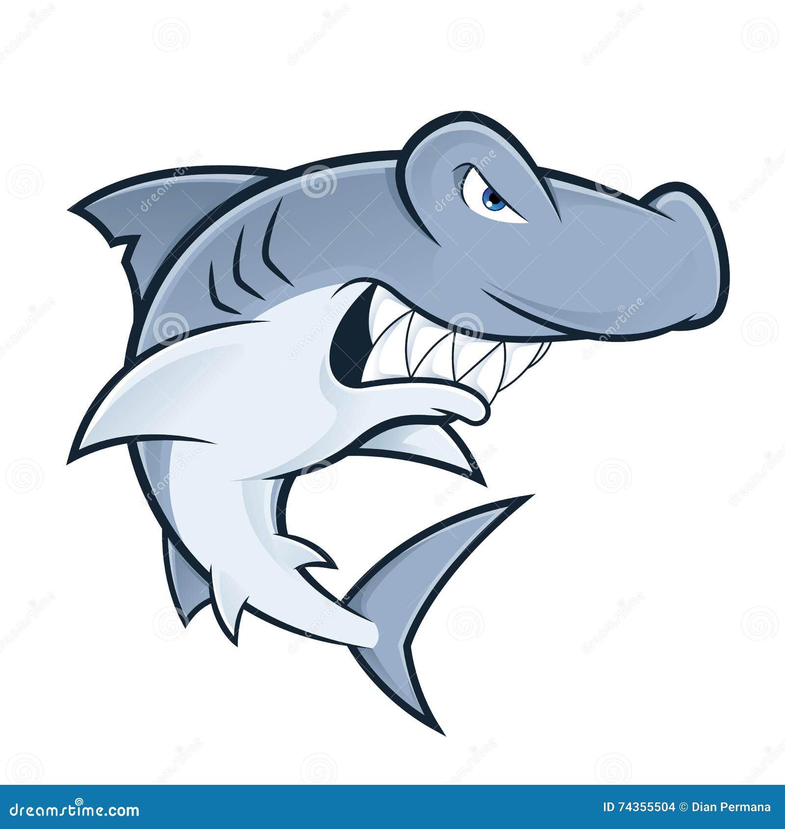 hammerhead shark mascot stock vector illustration of drawing 74355504 rh dreamstime com Hammerhead Shark Silhouette Clip Art Hammerhead Shark Silhouette Clip Art