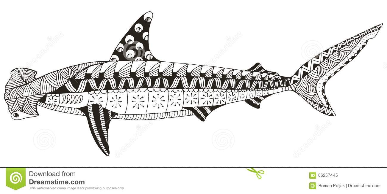 hammerhead shark zentangle stylized vector illustration patte