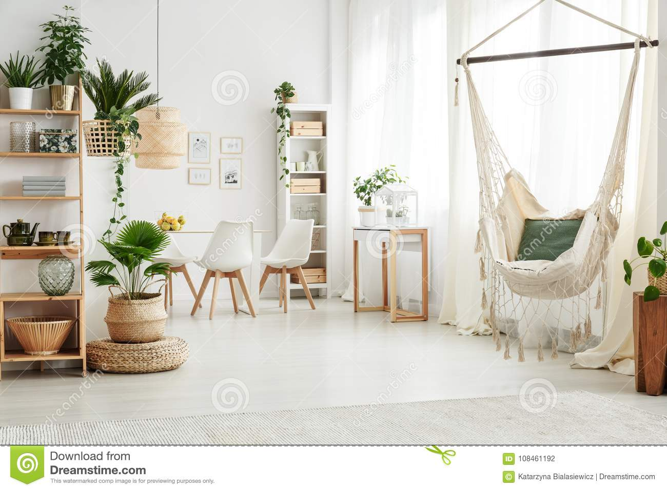 Hammock In Bright Living Room Stock Photo Image Of Rattan