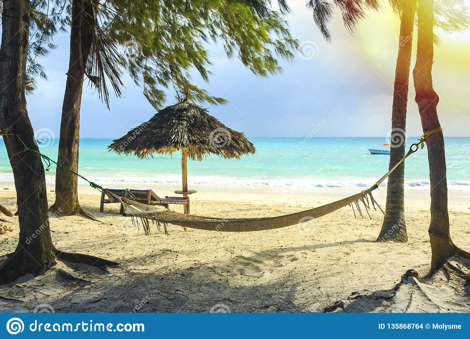 Hammock Chair And Umbrella Beach Equipment Made Of Natural