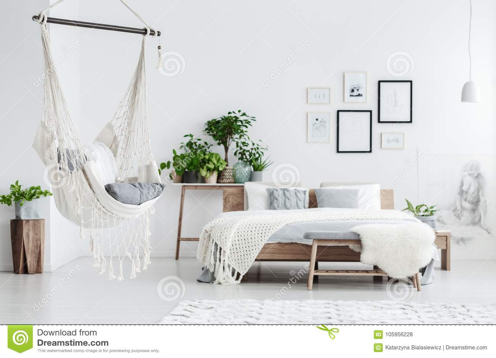 Hammock hanging in bedroom stock photo. Image of chair - 105956228