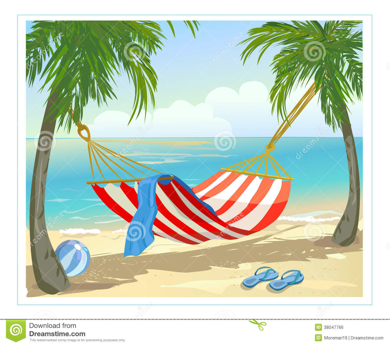 Hammock Palm Trees On The Beach Vector Illustration Royalty Free Stock Image