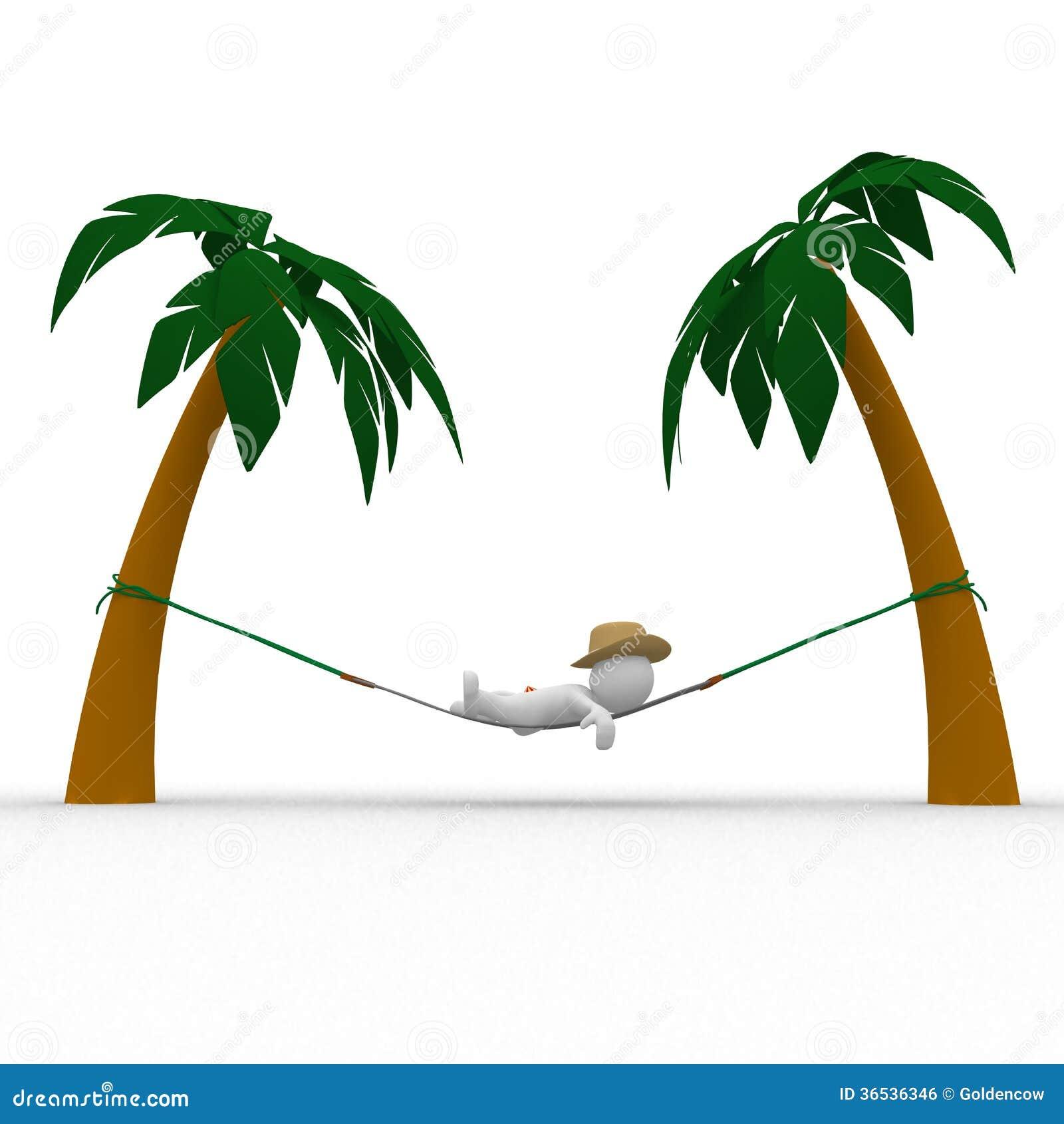 Hammock Between Palm Trees Royalty Free Stock Image