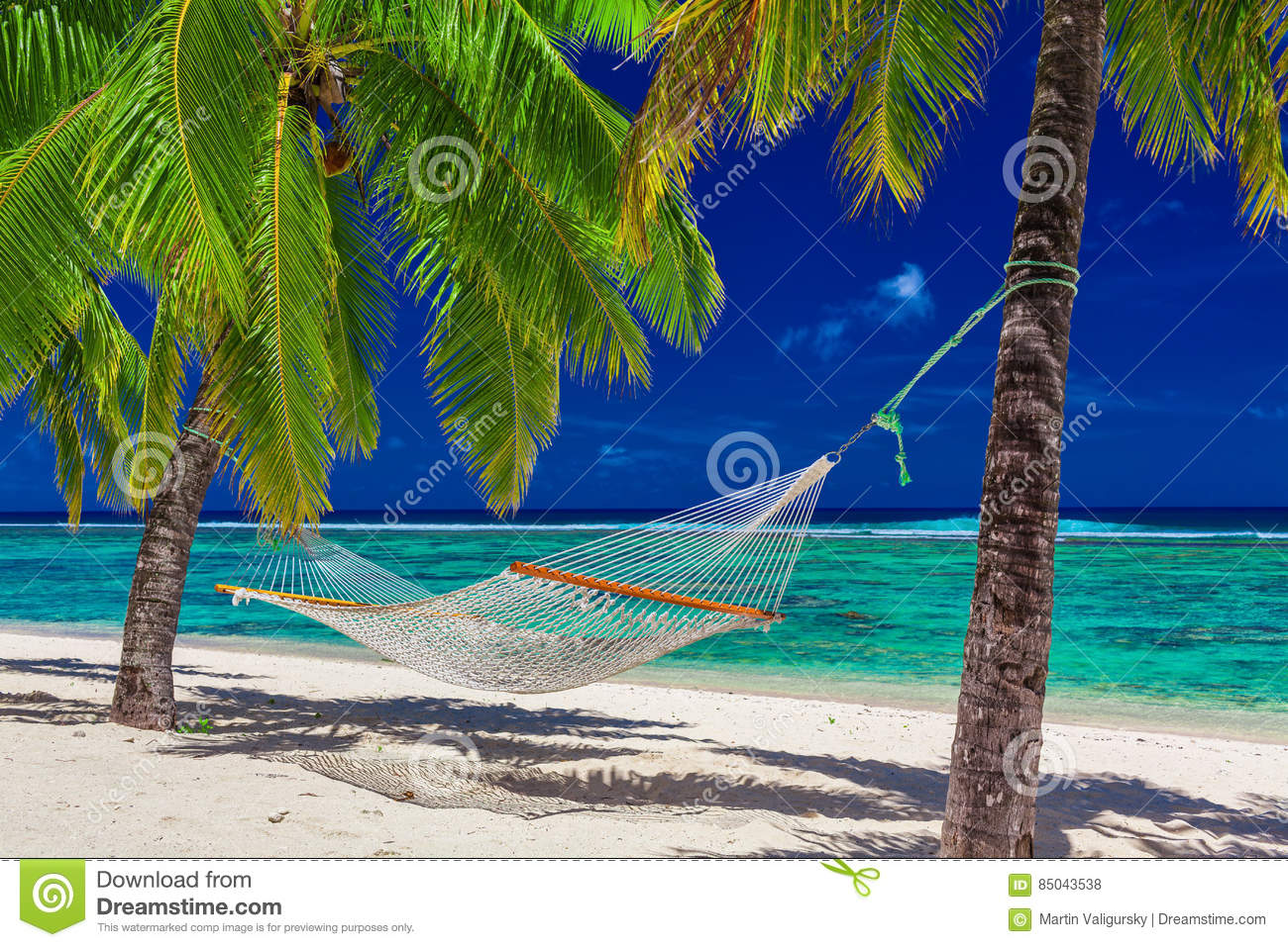 Hammock between palm trees on tropical beach of Rarotonga, Cook