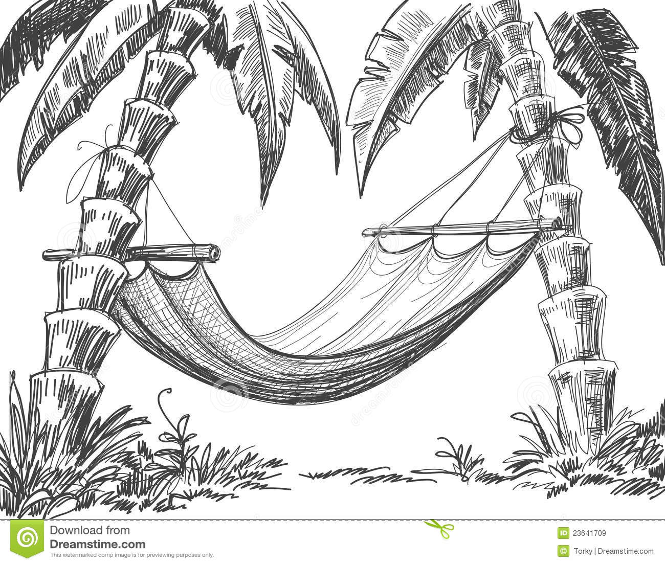 Royalty Free Stock Images Hammock Pencil Drawing Image23641709 on How To Draw 3d House Plans