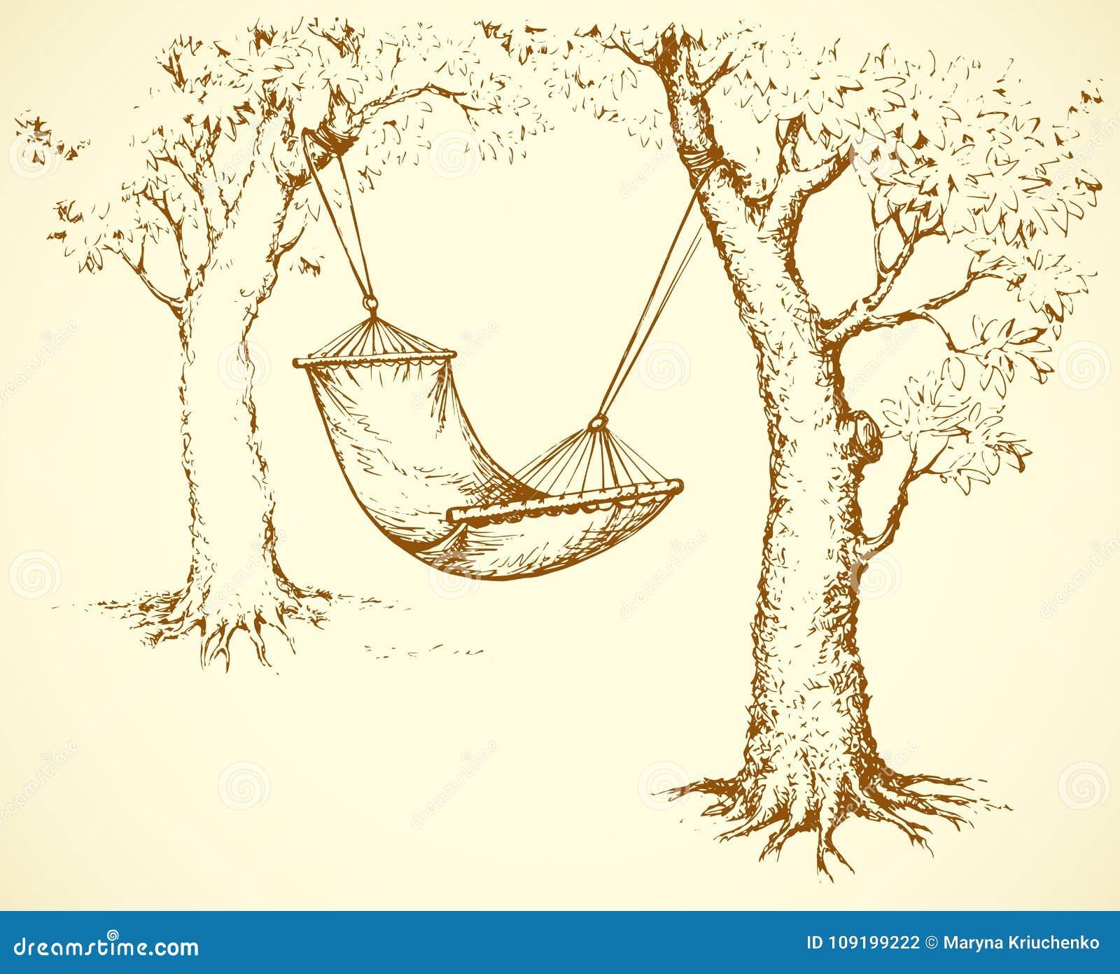Hammock On Tree Vector Illustration Stock Vector Illustration Of