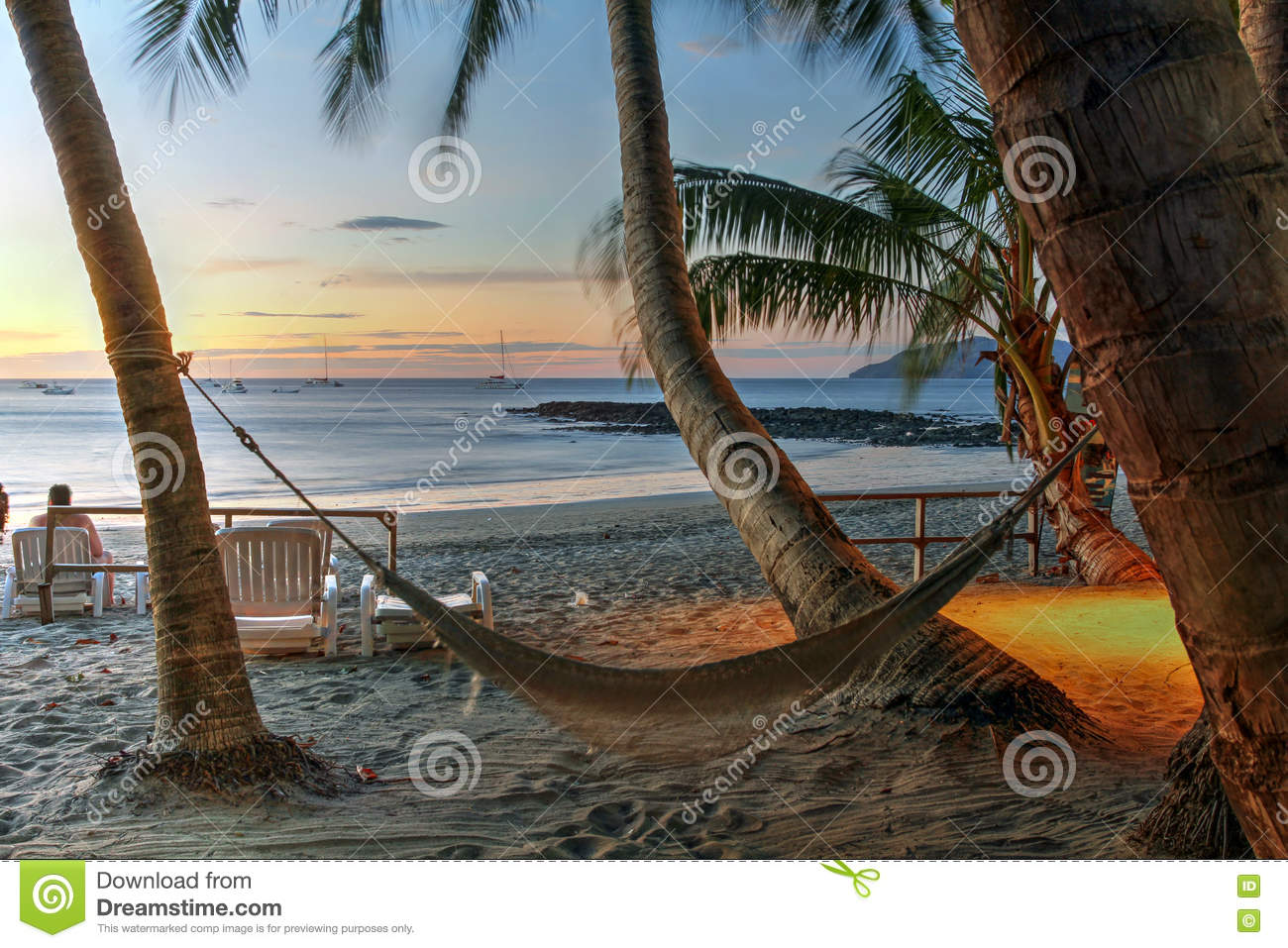 Download Hammock On Tropical Beach At Sunset Editorial Stock Image - Image of rica, twilight: 75646024