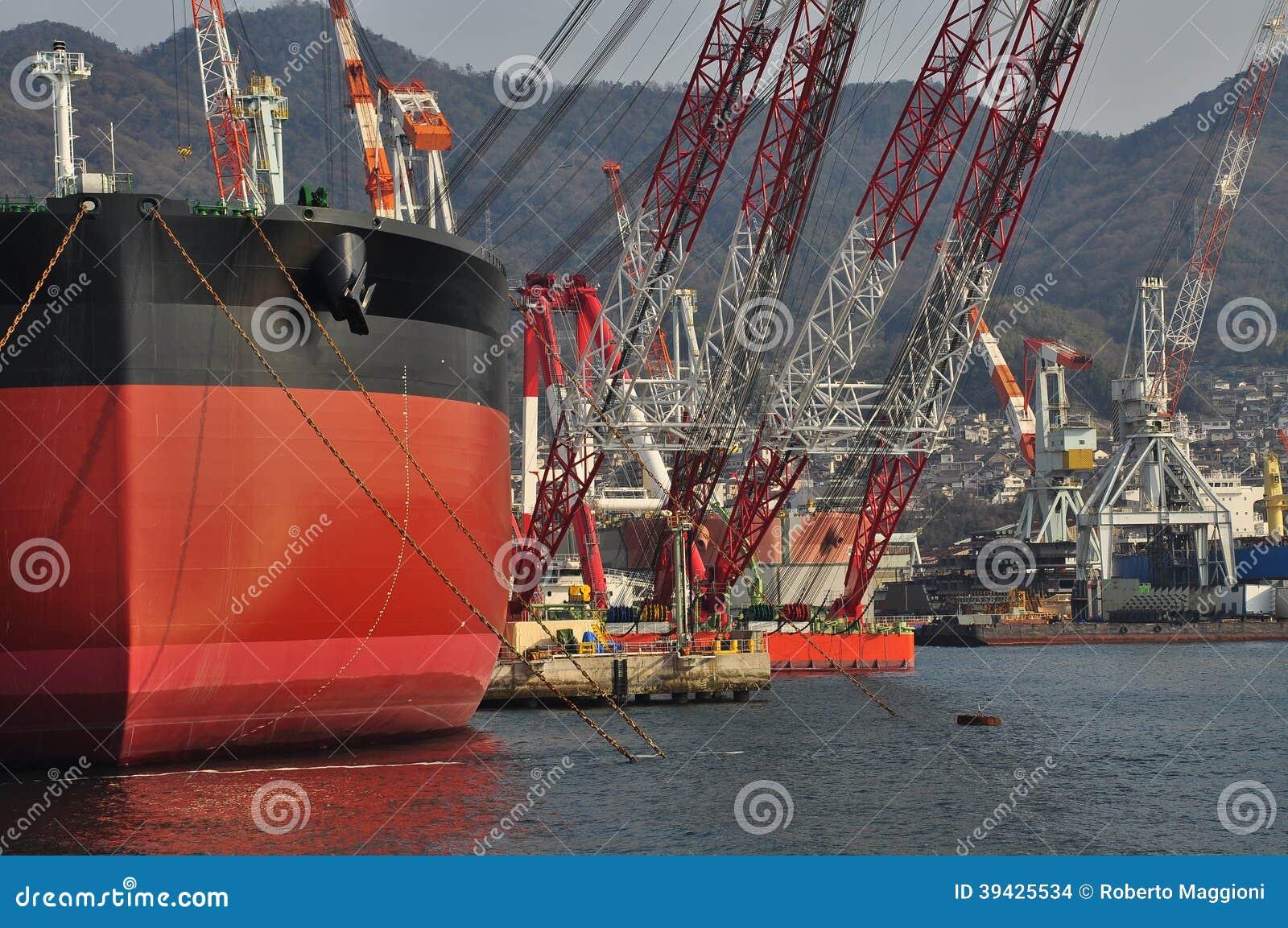Hamnplats för skeppbyggnad i Kure, Japan