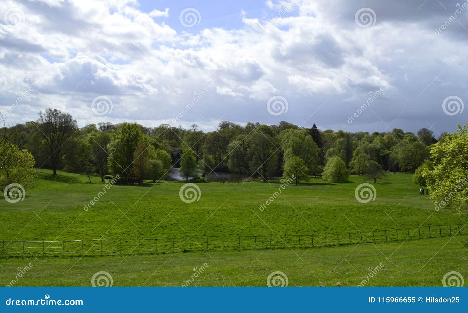 Hampstead hed och sjö framme av det Kenwood huset i London UK