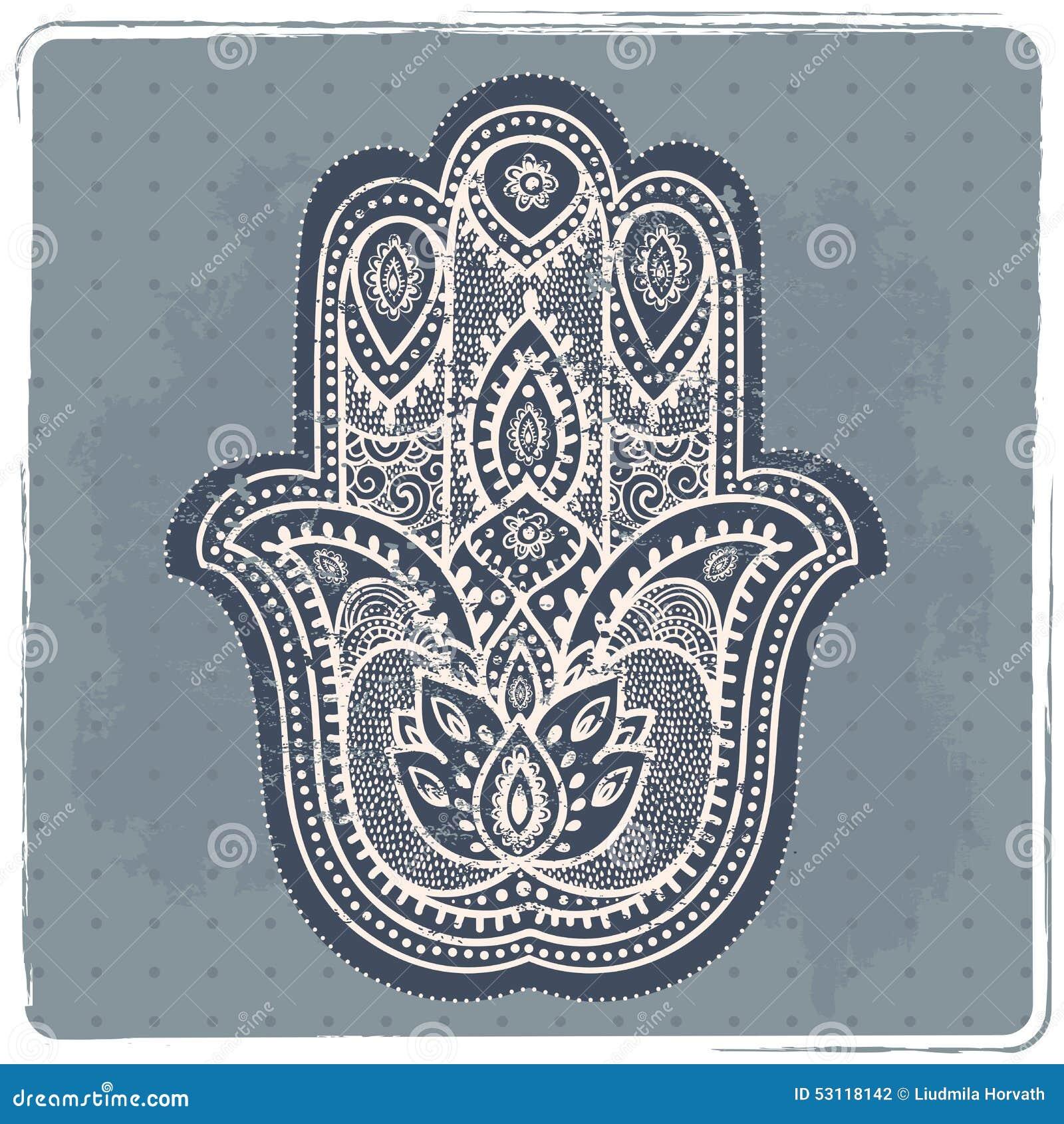 Hamsa вектора индийской нарисованное рукой с орнаментами