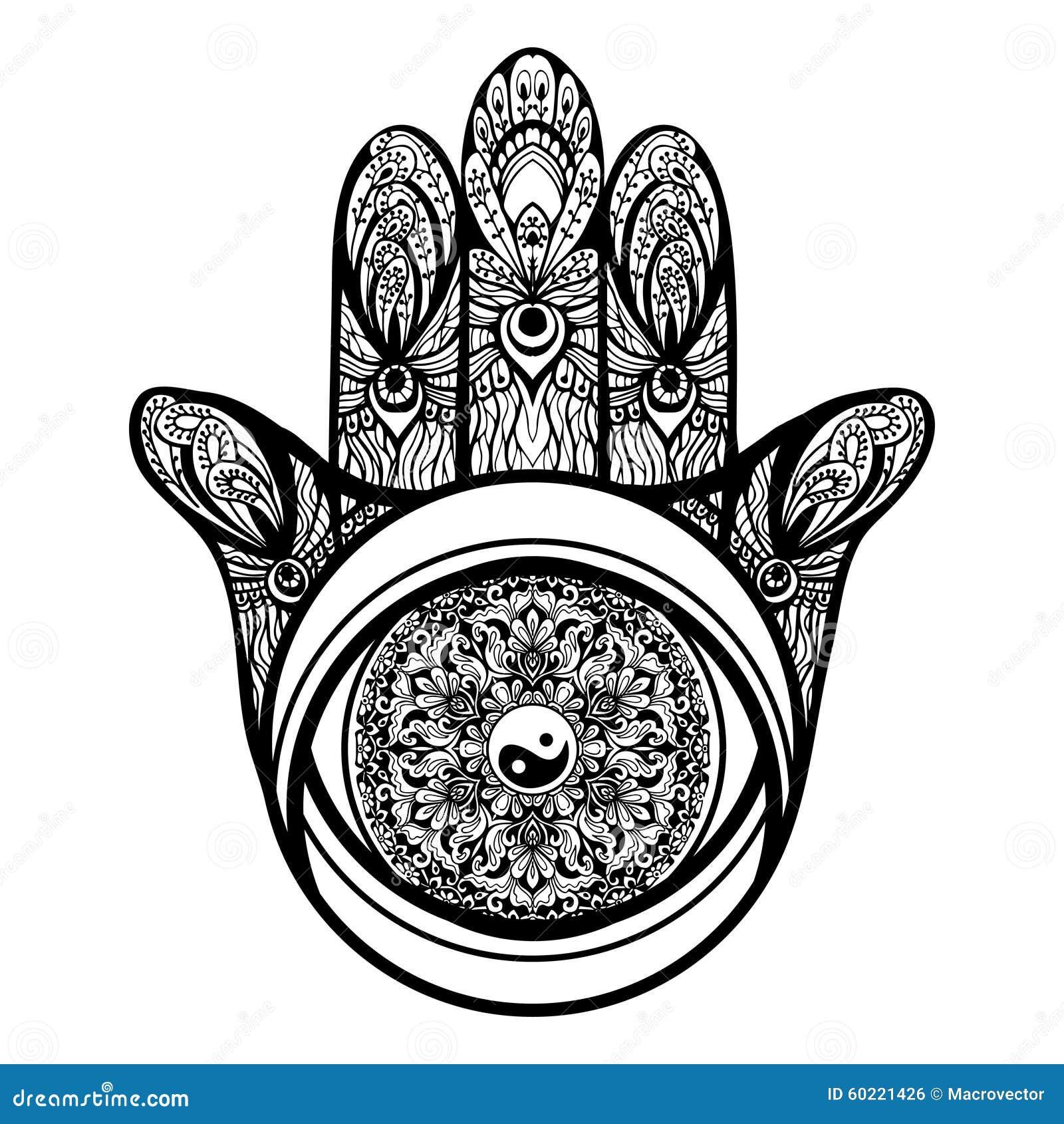 Hamsa Hand Illustration Stock Vector Illustration Of Magic 60221426