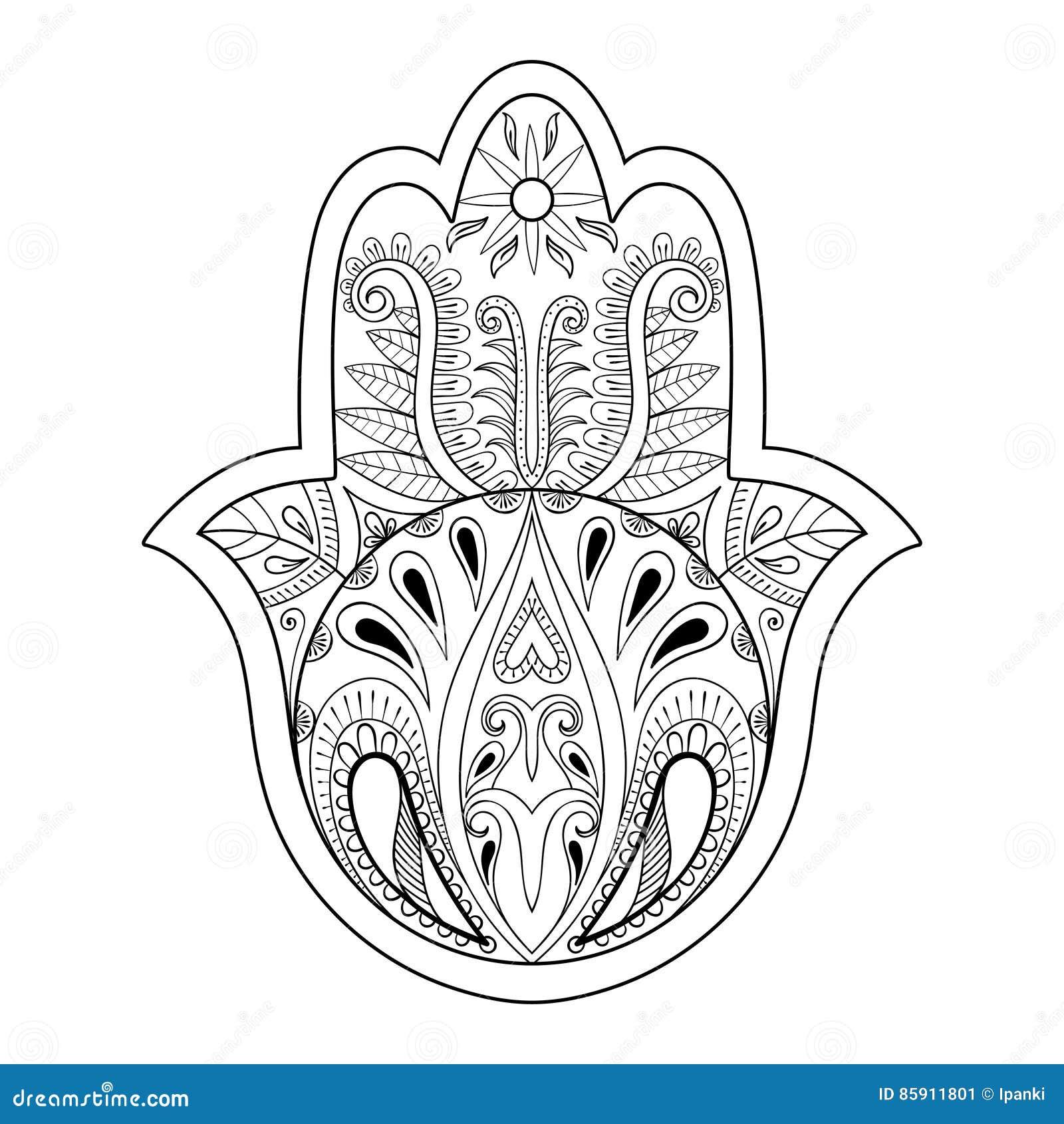 1e2dedff9 Hamsa hand vector illustration. Hand drawn symbol of prayer for adult anti  stress coloring book, page in zentangle style. Blackwork yoga tattoo design.
