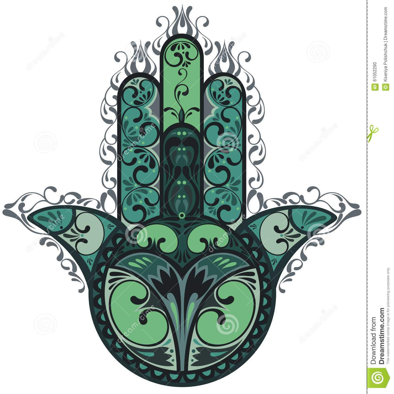 Vector Indian hand drawn hamsa with ethnic ornaments.