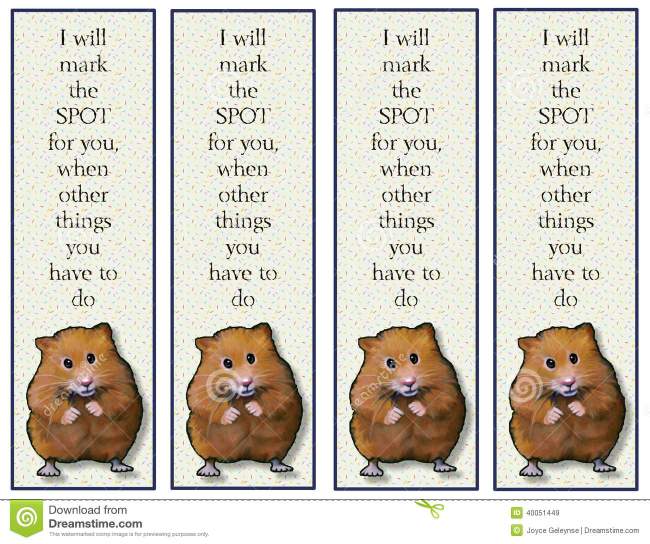 Hamster Bookmarks With Verse Stock Illustration - Image