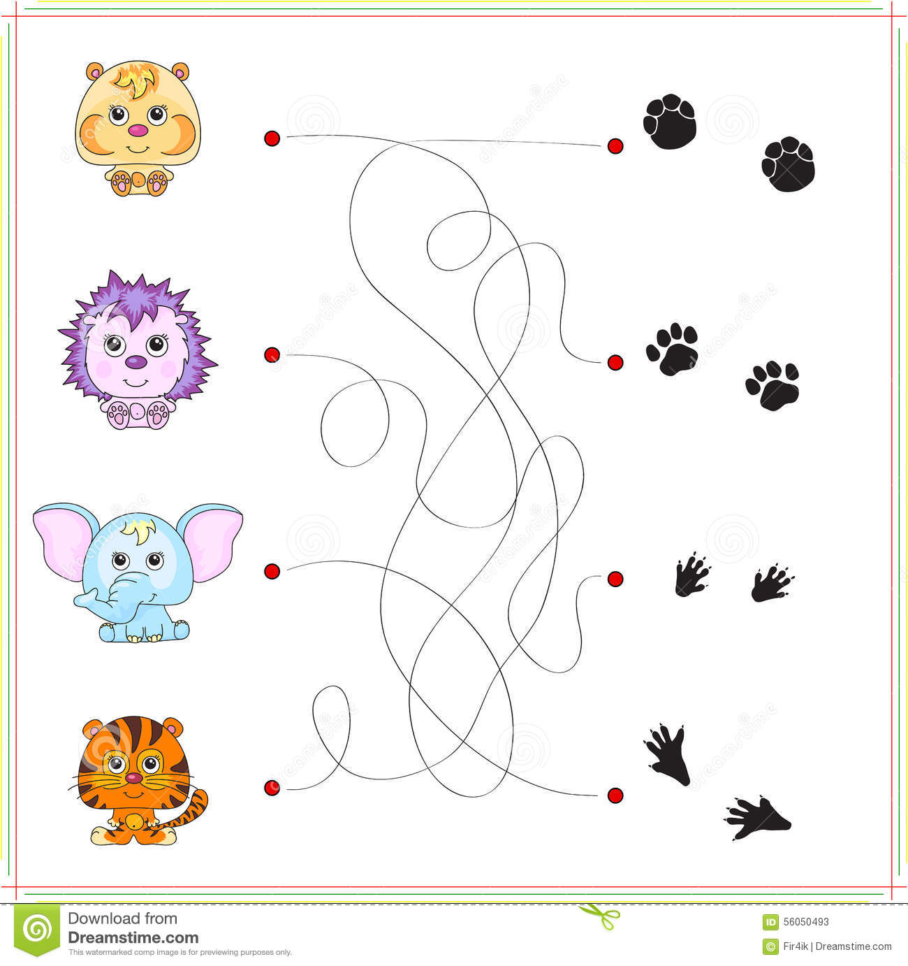 hamster hedgehog elephant and tiger with their traces of foot