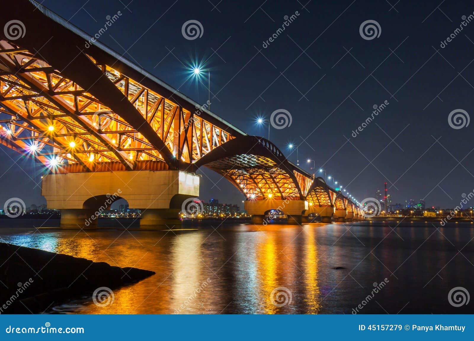 Han River and Seongsan Bridge at Night
