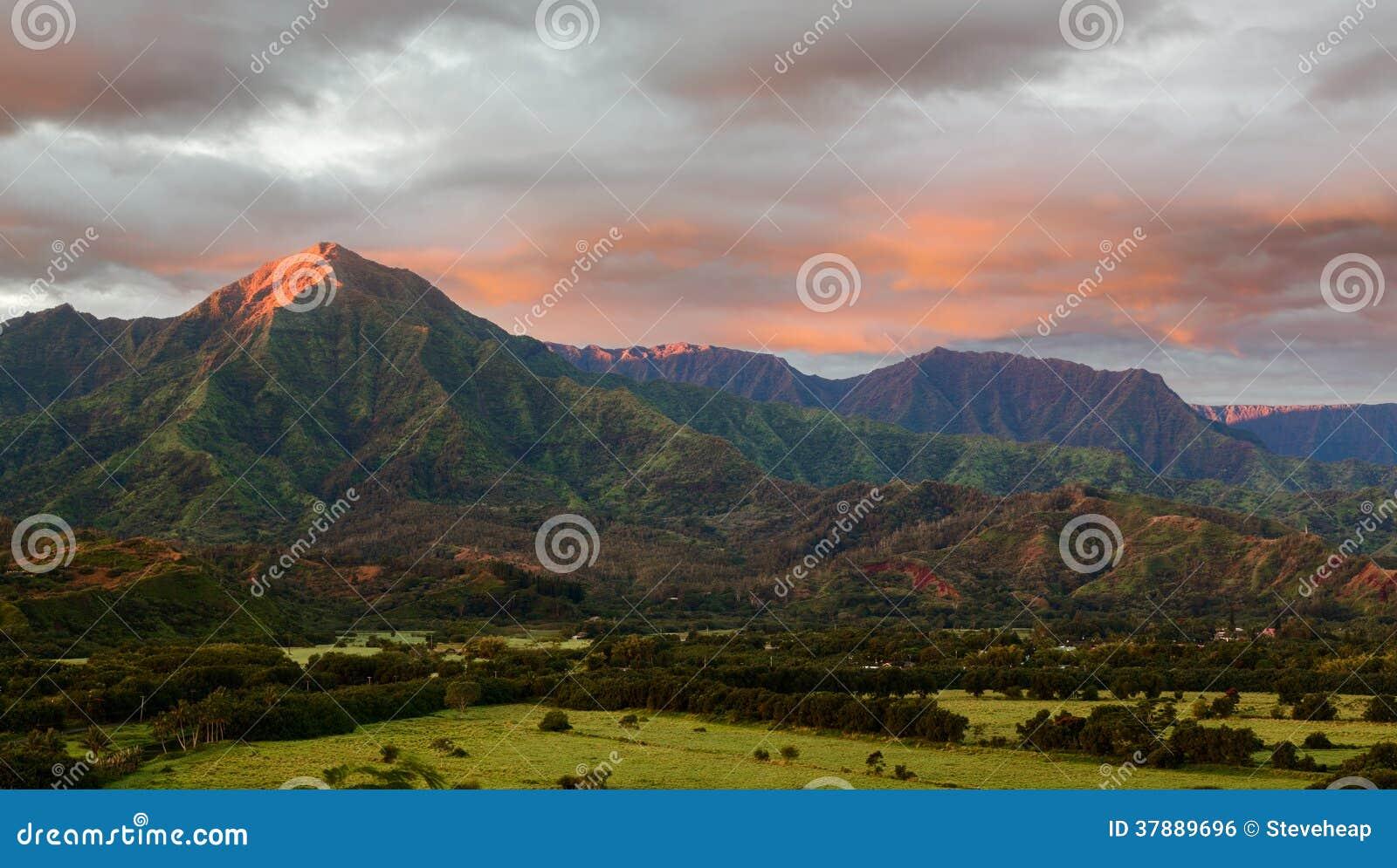 Hanalei全景在考艾岛海岛上的