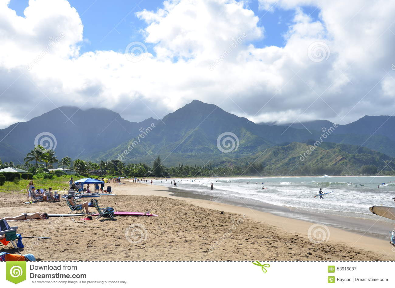Hanalei Bay Beach Park Editorial Photography Image Of