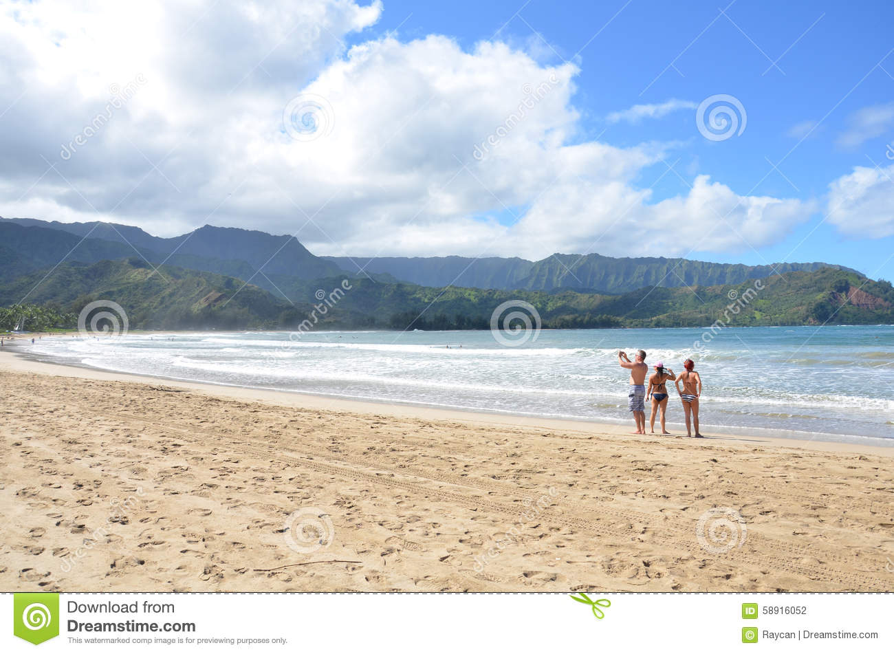 Hanalei Bay Beach Park Stock Photo Image Of Suits