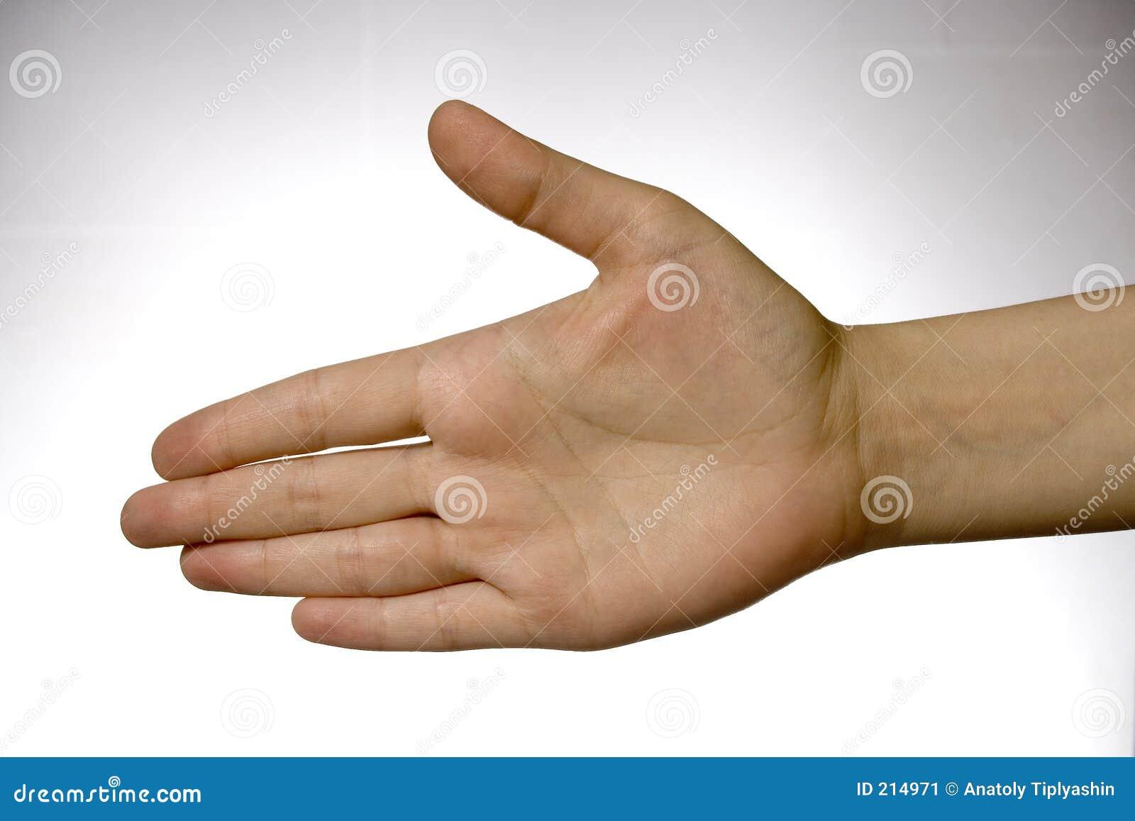 Hand över white