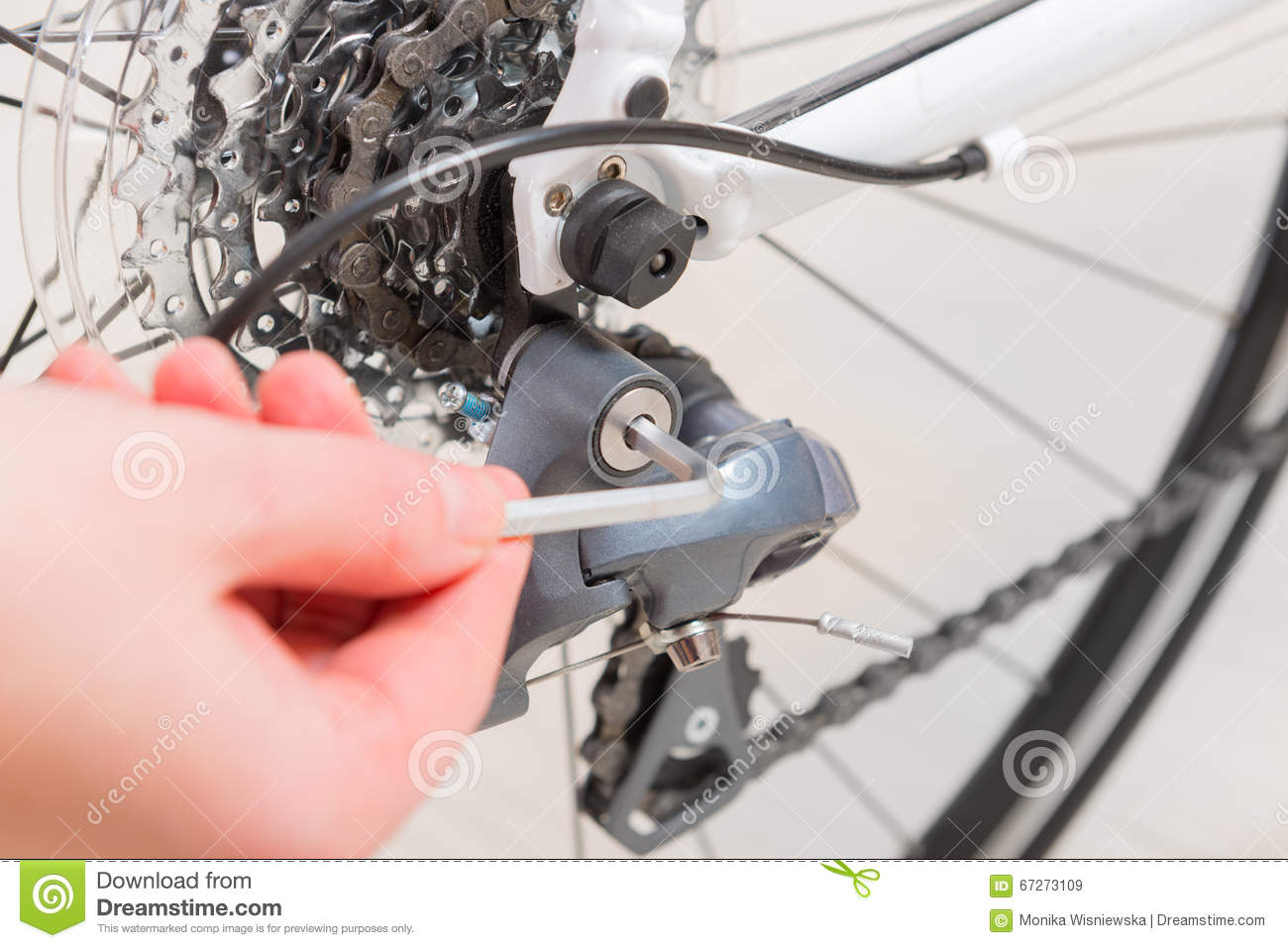 Hand Adjusting Rear Derailleur Stock Image - Image of