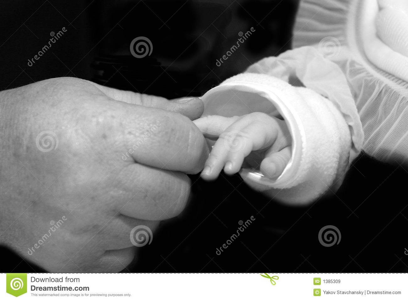 Hand of the adult person and the child.