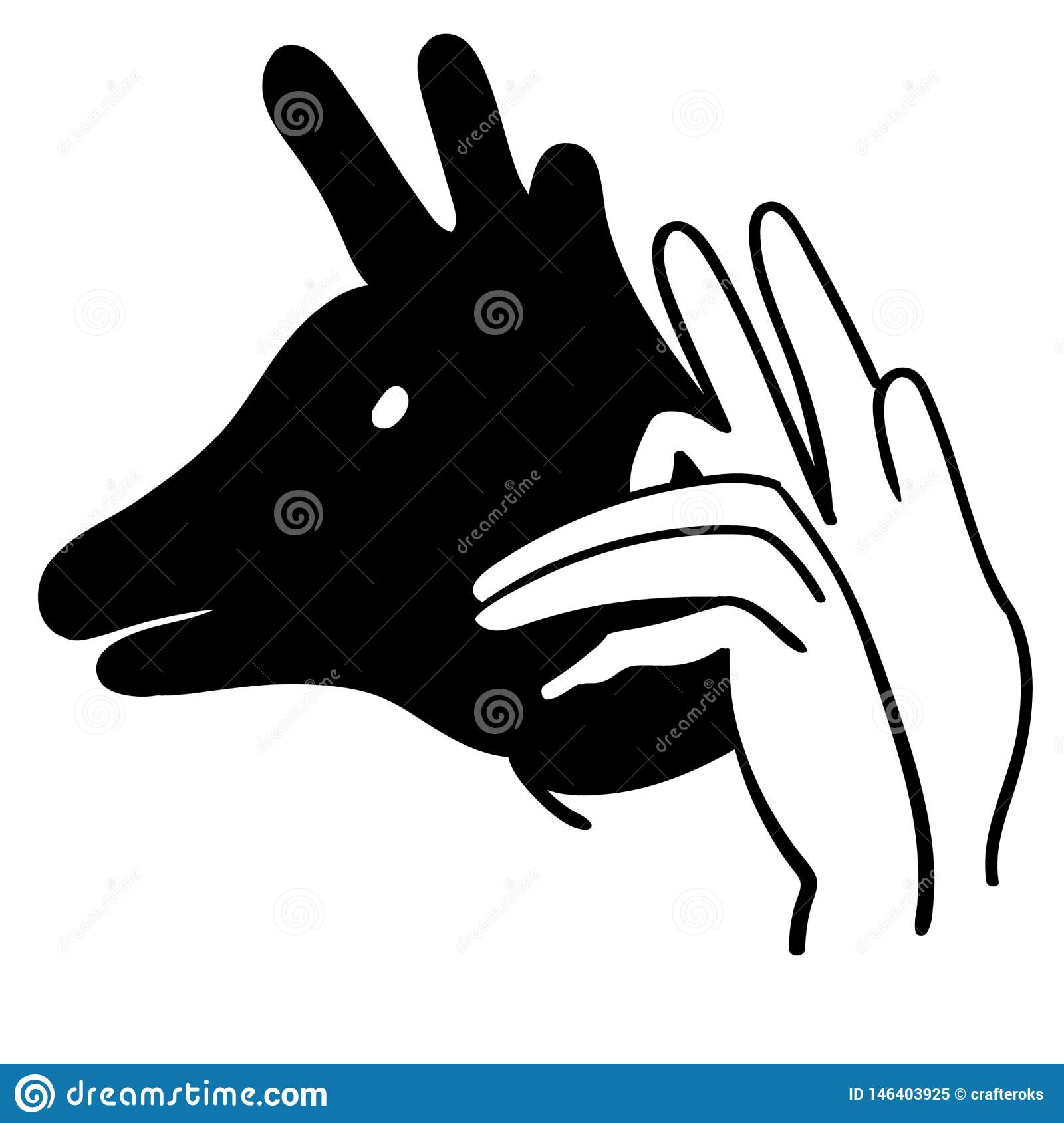 Hand animal shadow vector illustration by crafteroks