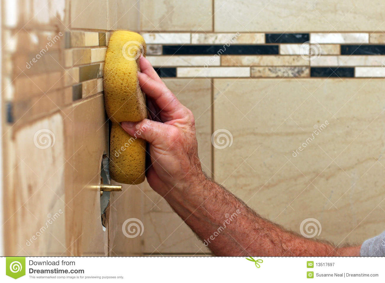 Hand Applying Grout To Wall Tiles Stock Image - Image of work ...