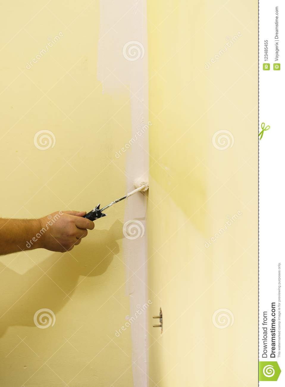 Hand Applying Paint On Wall Stock Image - Image of white, color ...