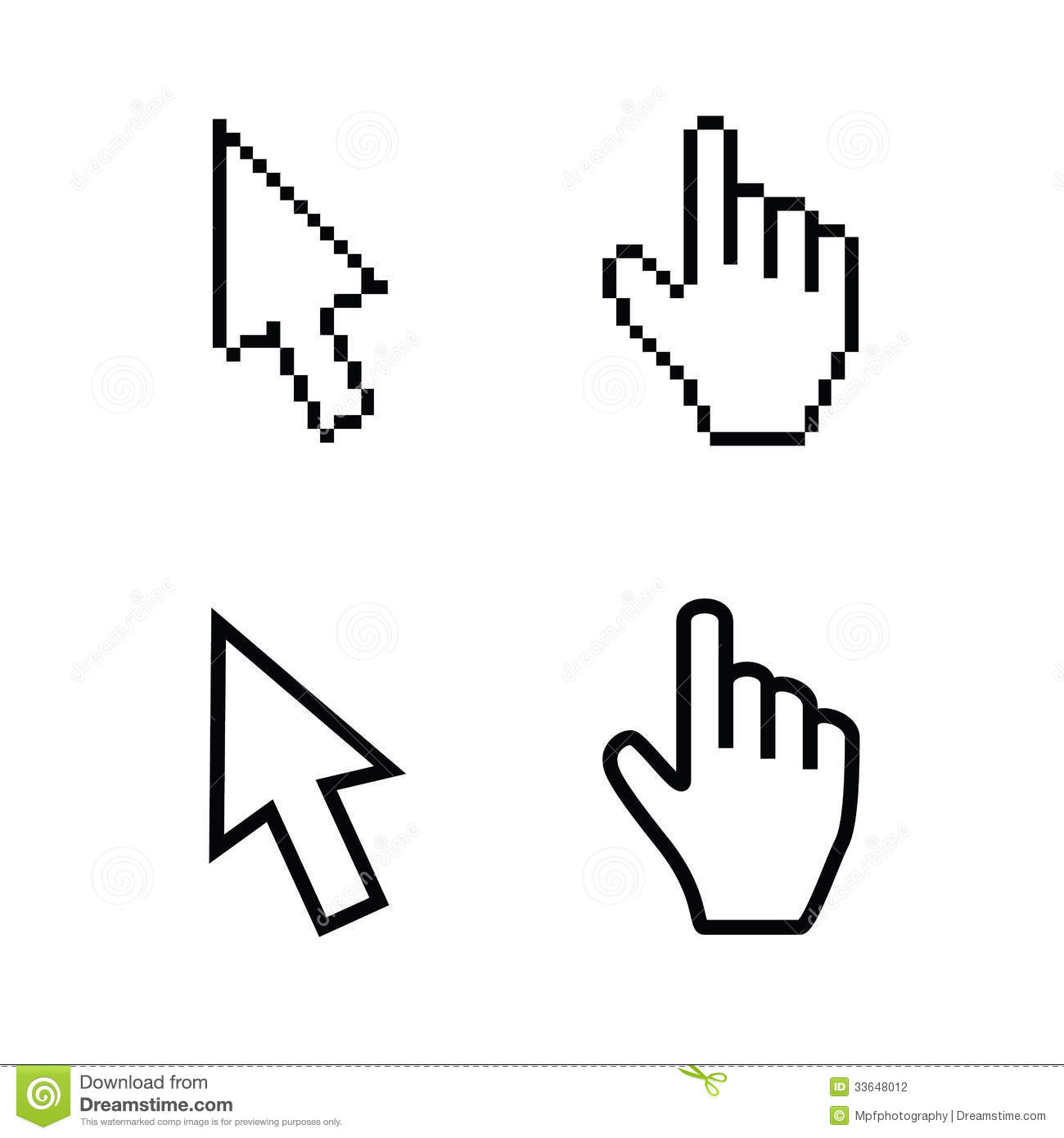 Hand And Arrow Cursors, Smooth And Pixel Vectors Stock Photography ...