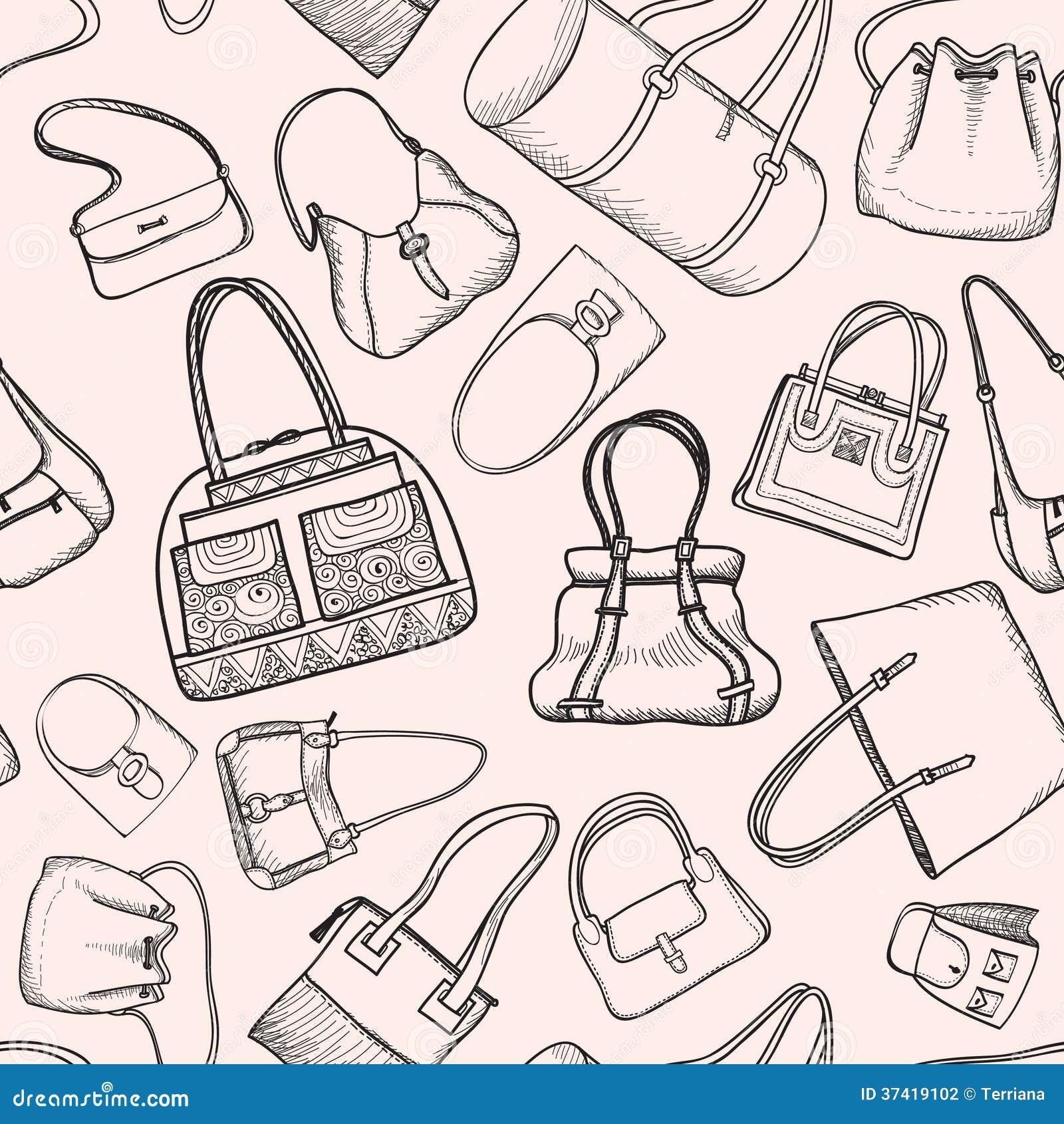 Hand Bags Fashion Seamless Sketch Pattern. Illustration 37419102 - Megapixl 509c50f7a5747