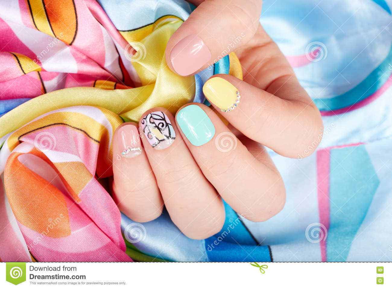 Hand With Beautiful Manicured Nails Stock Photo - Image of long ...