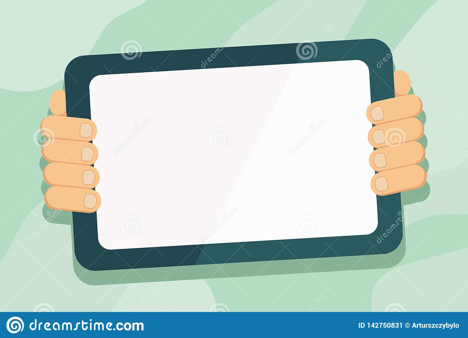 Hand Behind Color Tablet Holding Blank Screen Gadget Facing the Audience. Smartphone with White Touchscreen Handheld