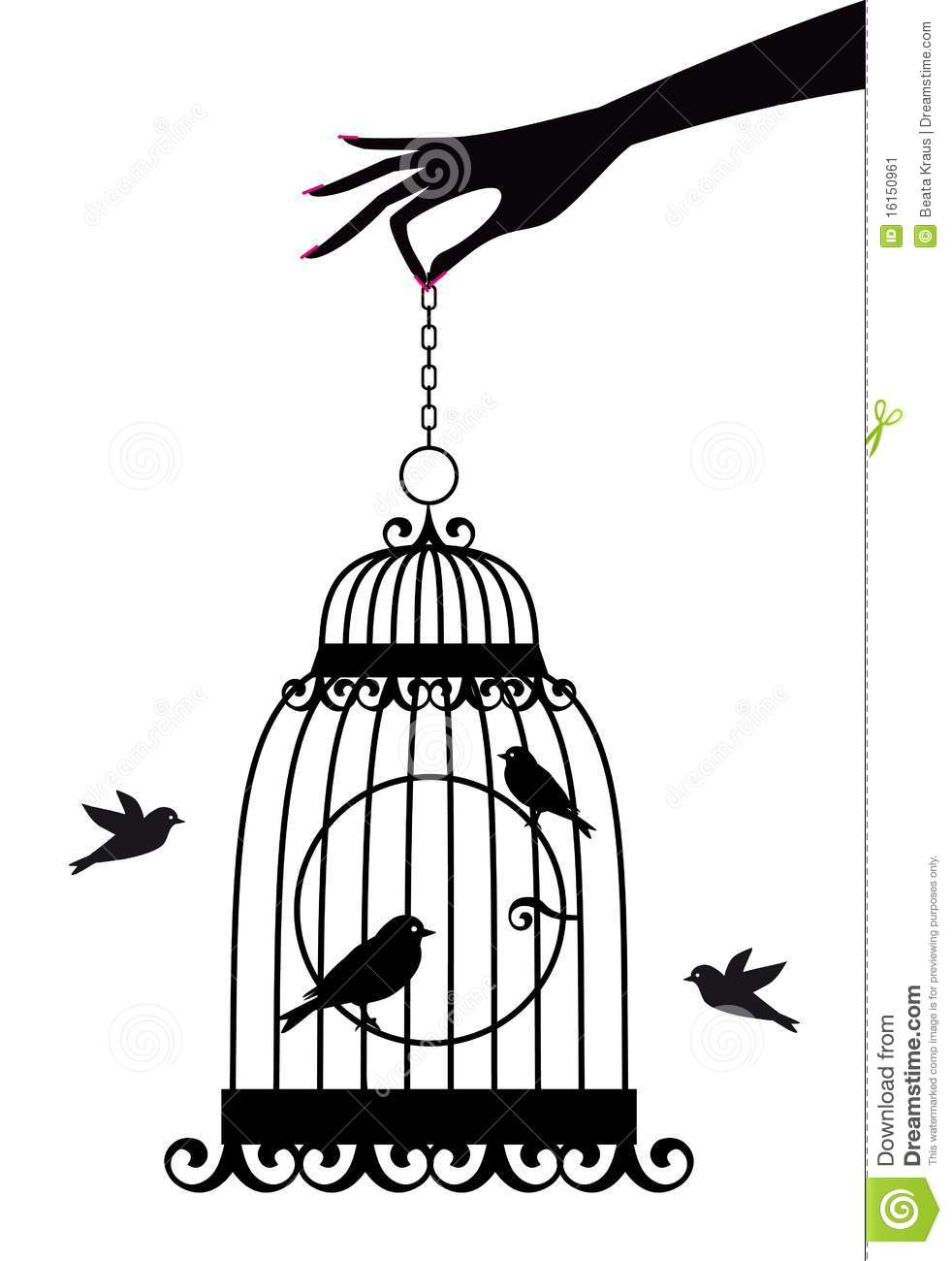 hand with birdcage  stock vector  image of animal  cute