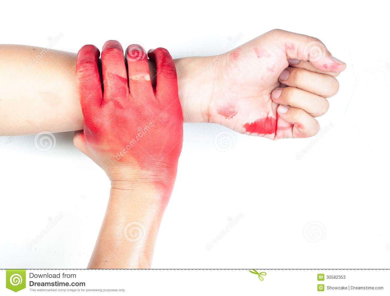 Hand In Blood On A White Background Stock Image