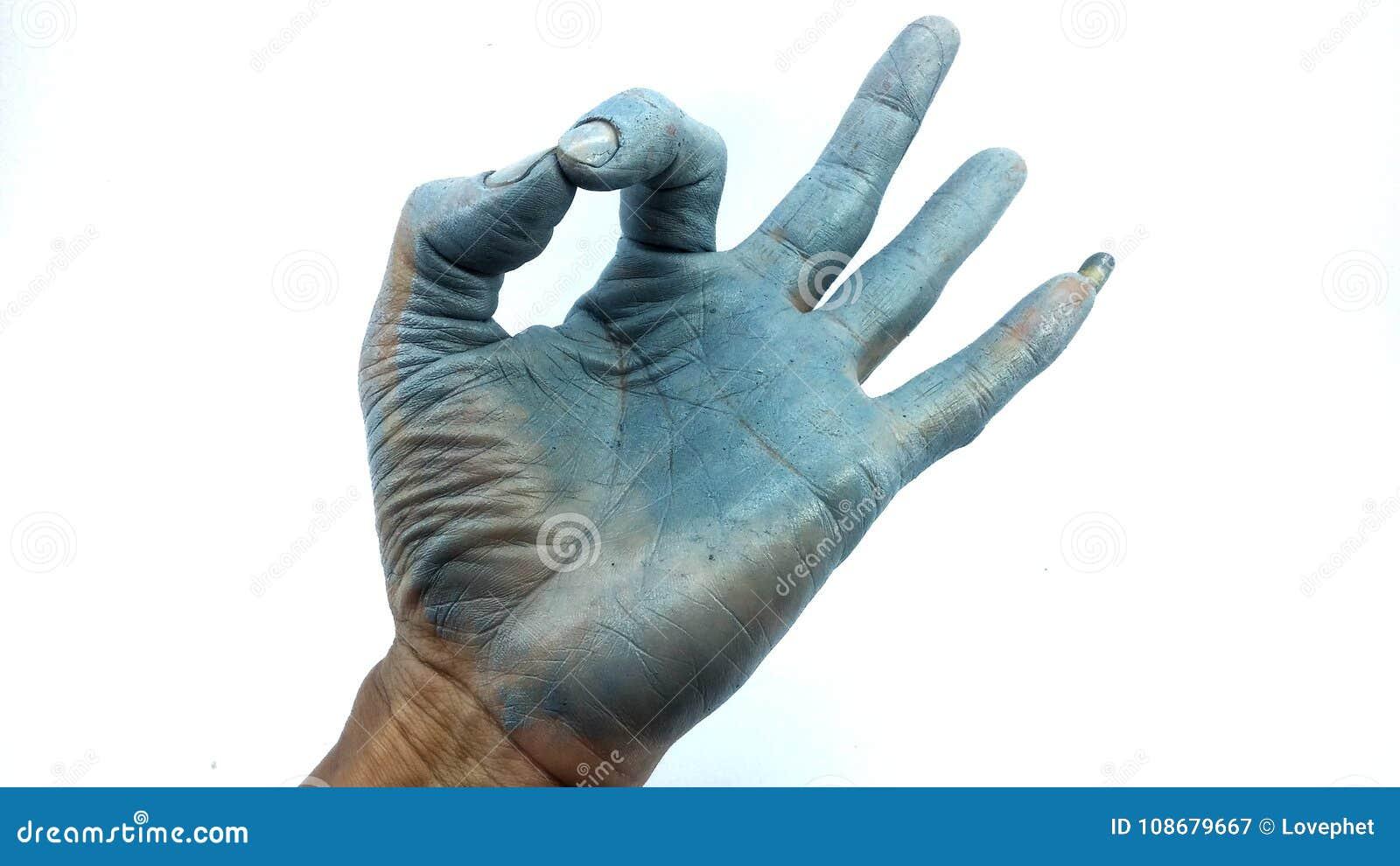 Hand in blue enamel color