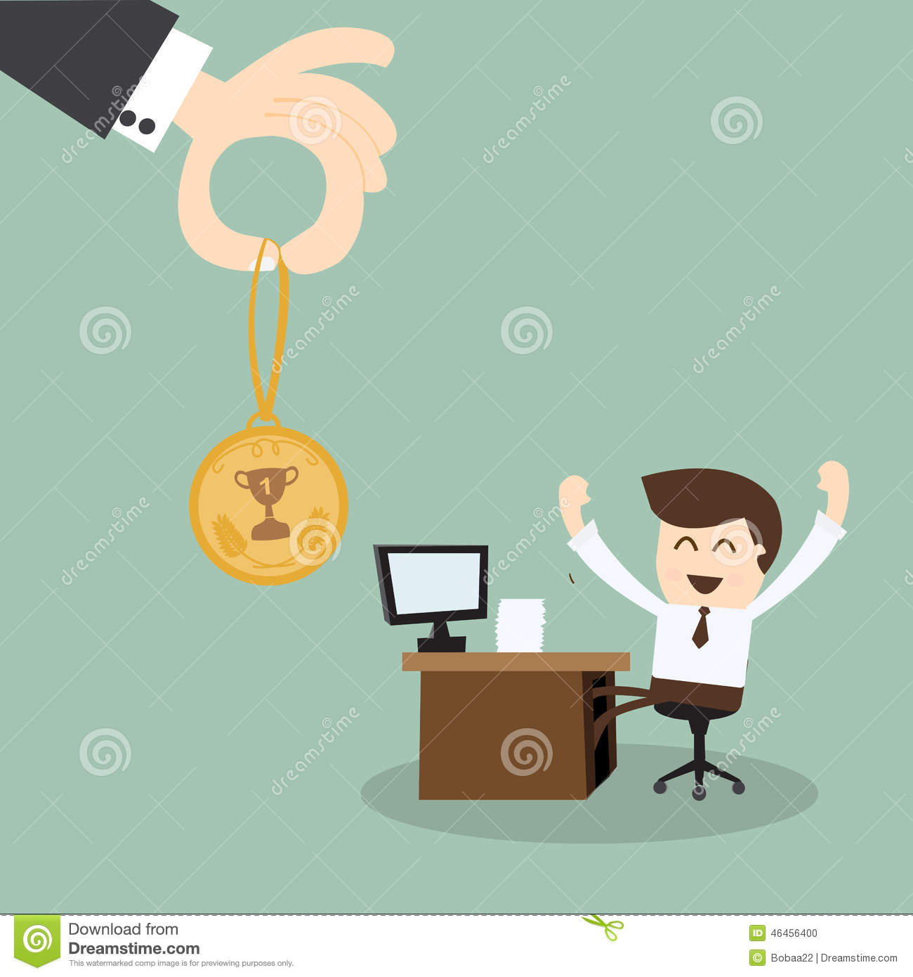 Hand Boss Giving A Reward For Employees Stock Illustration - Image ...