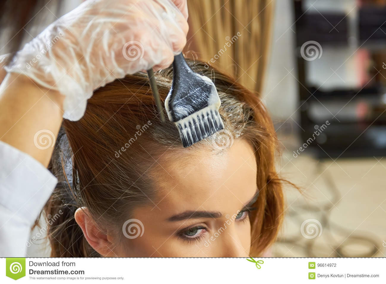 Hand With Brush Dying Hair Stock Photo Image Of Glove Hair 96614972