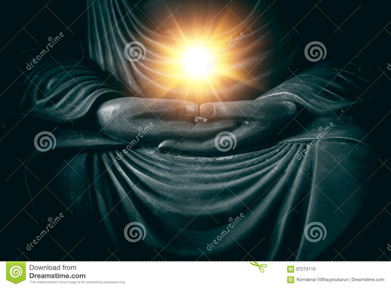 Hand of buddha with light of wisdom and power
