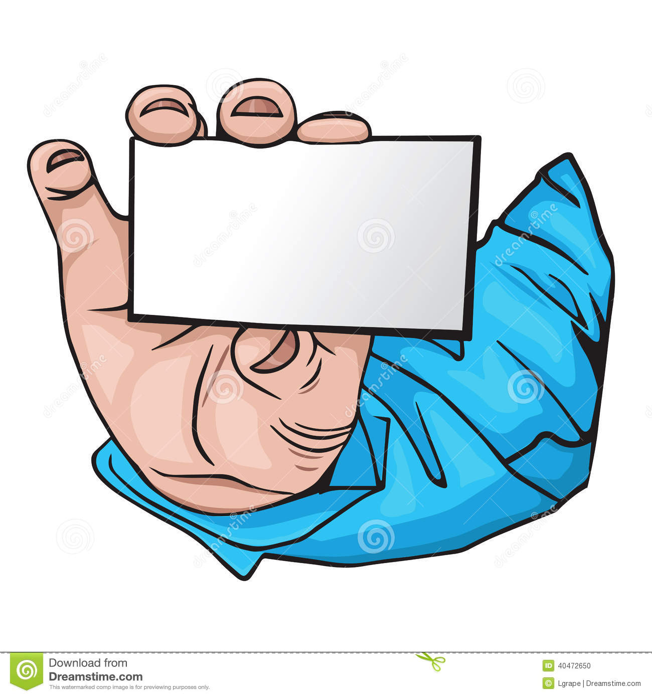 Hand With Business Card. Cartoon Style Stock Vector - Image: 40472650
