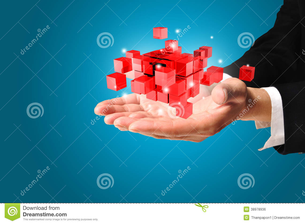 Hand of Business man hold cubic