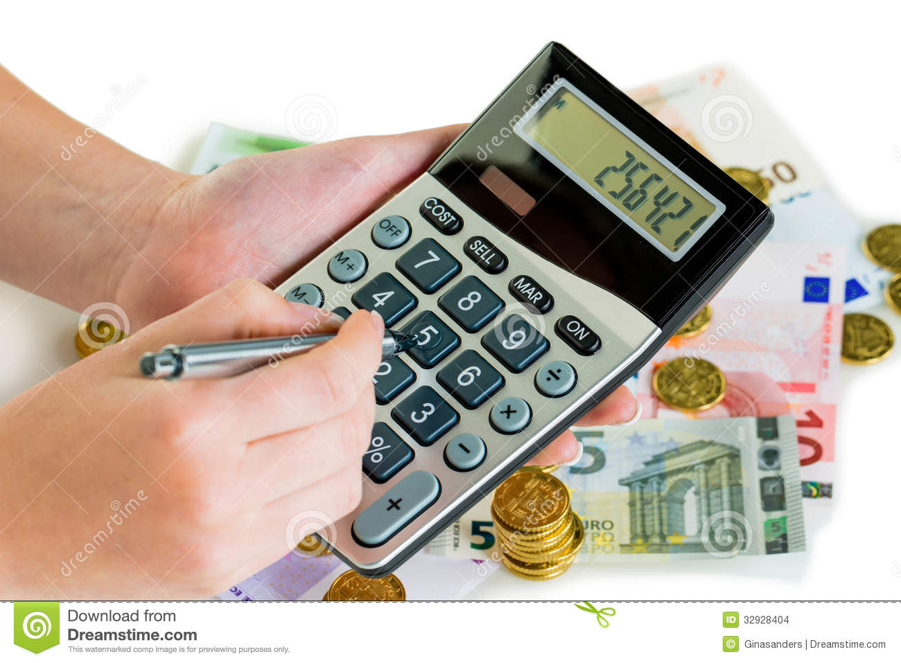 Hand with calculator and money